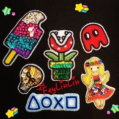 Beaded patches (Вышитые бисером и пайетками нашивки) ____________________________ #FeyLinLin #games #PlayStation #Pakman #Piranhaflower #patch #embroidery #beads #beadwork #Sequins #вышивка #бисер #ビーズ刺繍