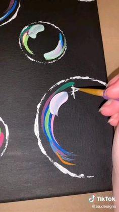 Easy Acrylic Paintings, Black Canvas Paintings, Canvas Painting Tutorials, Cute Paintings, Acrylic Painting Canvas, Bubble Drawing, Bubble Painting, Bubble Art, Small Canvas Art