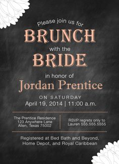 Chalkboard theme bridal shower invite. Brunch with the Bride!