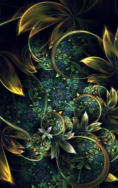 Fractal art: Nightgarden by plangkye on deviantART Fractal Design, Fractal Images, Fractal Art, Psychedelic Art, Abstract Paintings, Abstract Art, Flower Wallpaper, Wallpaper Art, Iphone Wallpaper