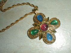 vintage trifari gp filigree jeweled maltese by fadedglitter42263, $78.00