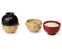 WOODEN SMILEY FACE BOWLS - SET OF 2 | Cute Japanese Design, Children's Dishes, Plates, Food, Fun | UncommonGoods