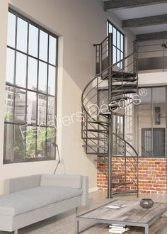 escalier m tallique au design industriel photo dt37 esca 39 droit 2 quartiers tournants avec. Black Bedroom Furniture Sets. Home Design Ideas