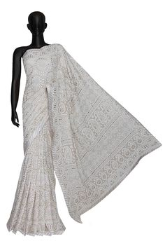 Ada Hand Embroidered Unicorn White Pure Georgette Lucknowi Chikankari Saree/Blouse With Gota patti Work- A562774 include an embroidered blouse, the blouse is worked up with Chikan embroidery and the sleeves include floral motifs #Ada #Adachikan #puregeorgette #white #saree #handembroidered #gotapatti #chikankari