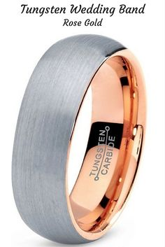 This is a beautiful mens tungsten wedding band with a polished rose gold. This makes one amazing mens wedding band! Love it.