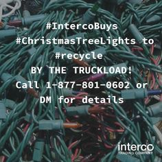 #IntercoBuys #ChristmasTreeLights to #recycle BY THE TRUCKLOAD! Call 1-877-801-0602 or DM for details