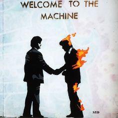 "Pink Floyd on Sunday - ""welcome to the machine"" sounds amazing -   Stencil artist ""Syd"" tribute on Fashion Street #london #pinkfloyd #welcometothemachine #fashionstreet #eastlondon #east #stencilart #stencil #fire #syd @syd @pinkfloyd @music @welcometothemachine #music #art #icon #uk #band #streetart #spraypaint #wallart #muralart"