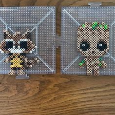 Rocket and Baby Groot Perler Bead Templates, Diy Perler Beads, Perler Bead Art, Pearler Beads, Pixel Art, Pearler Bead Patterns, Perler Patterns, Quilt Patterns, Hama Beads Design