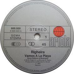Righeira- Vamos A La Playa (Vinyl,12'') 1983 A&m Records, Center Labels, Italo Disco, Record Company, Original Version, Music Radio, It Works, Archive, The Originals