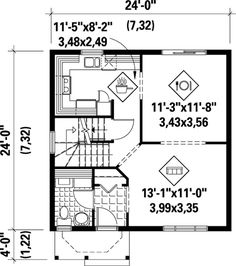 House Plan 52724 Level One - widen a bit, put in elevator instead of stairs, laundry in stairs space.