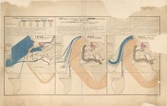 """Charles Joseph Minard 'Carte Figurative et Approximative des Quantites de coton brut"""" Library of Congress. Depiction of the cotton trade from the American South to India and Egypt during the Civil War. Information Design, Information Graphics, Flow Map, Joseph, Map Pictures, Charts And Graphs, Europe, Library Of Congress, Data Science"""