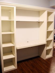 diy - desk from ikea shelving units! Any shelving would work, and just imagine being surrounded by all of your paper