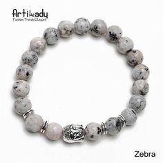 Women's Natural Stone Buddha Charm Bracelet