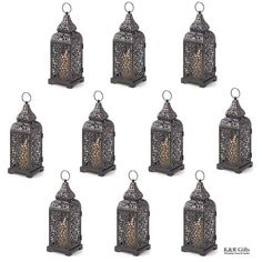 "10 Moroccan Style Tower Candle Lanterns $80 Intricate panels cast a haunting halo of dancing candlelight,   while a graceful outer shape brings to mind a Moroccan temple   tower. A truly spellbinding symbol of Far East romance!Each measures: 4 1/8"" square x 13"" high.Iron.Candles not includedWeight 1 lb. each"