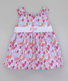 Take a look at this Pink & White Balloon Monogram Dress - Infant, Toddler & Girls today!