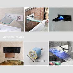 Bathroom Wall Mount Basin/Tub Mixer LED Waterfall Faucet Single Lever Brass Taps   Home & Garden, Home Improvement, Plumbing & Fixtures   eBay!