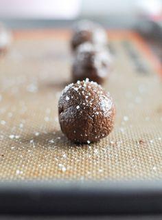 Salted Dark Chocolate Truffle Cookies I howsweeteats.com