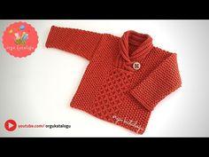 #89 ŞAL YAKA BEBEK KAZAK MODELİ / Kolay Anlatımlı Bebek Örgüleri / Hand Knitted Baby Sweater - YouTube Knitted Baby Cardigan, Knit Baby Sweaters, Baby Hats Knitting, Free Knitting, Knitted Hats, Knitting Patterns, Moda Emo, Baby Vest, Knitting Videos