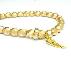 Armband goldfarbene feuerpolierte Glasschliffperlen mit Flügel auf www.wunderblütenschön.de