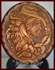 """Camafeu """"Saint Tropez"""" - Repujado em lâmina de cobre.- by mirian Keller"""