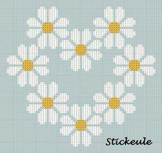 Daisies heart X-stitch pattern