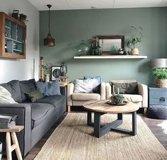 Have a good one! Living Room Green, New Living Room, Home And Living, Living Room Decor, Vintage Industrial Decor, Interior Stairs, Piece A Vivre, Modern Interior Design, Apartment Living