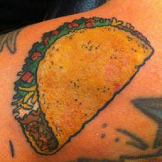 Taco tattoo [Photo Credit: @alguy via Instagram] Taco Tattoos, Chocolate Trifle, Draw Something, Tattoo Photos, Tattoo Inspiration, Photo Credit, Tatting, Arts And Crafts, Nachos