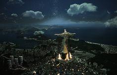 Em Mántica, o Cristo Redentor é tomado por favelas (Foto: Divulgação)