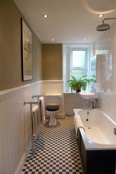 An inspirational image from farrow and ball simple bathroom, narrow bathroom, grey bathrooms, Long Narrow Bathroom, Simple Bathroom, White Bathroom, Modern Bathroom, Minimalist Bathroom, Grey Bathrooms, Bad Inspiration, Bathroom Inspiration, Bathroom Layout