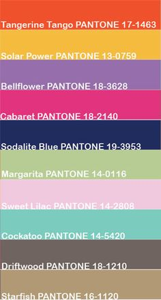 Pantone - Spring 2012 Color Swatches