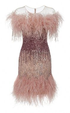 Shop Ostrich Feather And Sequin Embroidered Cocktail Dress. Pamella Roland's Ostrich Feather And Sequin Embroidered Cocktail Dress is designed with a sheer yolk, off-the-shoulder neckline, a fitted silhouette and feathered hem. Club Dresses, Sexy Dresses, Beautiful Dresses, Evening Dresses, Short Dresses, Fashion Dresses, Afternoon Dresses, Flapper Dresses, 1920s Dress