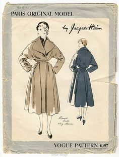 Vogue Paris Original 1097 by Jacques Heim | 1950 Coat