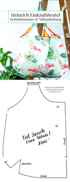 Sewing instructions and pattern: Heinrich shopping bag - Heinrich shopping bag – step-by-step sewing instructions and free sewing patterns from waseigenes - Sewing Patterns Free, Free Sewing, Free Knitting, Knitting Patterns, Pattern Sewing, Bag Sewing, Crochet Patterns, Diy Sewing Projects, Knitting Projects