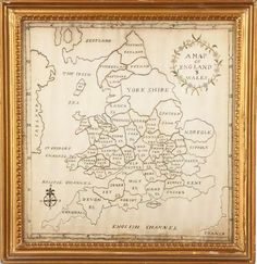 Unique 18th Century Map of England & Wales - Hand Stitched Needlework