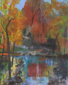 Original Walk in the Park painting on canvas by RobinMariaPedrero