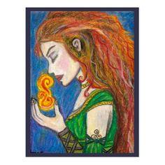 Goddess Brigid, art by Thania M. Flores, FaerieGrove Fine Art.