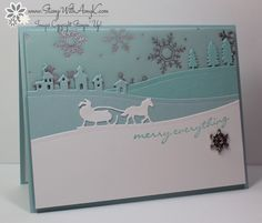 I used the new Stampin' Up! Jingle All the Way stamp set and Sleigh Ride Edgelits Bundle from the upcoming 2015 Holiday Catalog to create my card to share today. The pastel colors for my card were ...