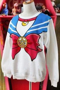 Buy Harajuku Sailor Moon Shirt Seaman Neck Bowknot Pattern Hoodies Sweatshirts at Wish - Shopping Made Fun Sailor Moon Shirt, Sailor Moon Cosplay, Sailor Moon Clothes, Sailor Moon Outfit, Sailor Moon Tumblr, Kawaii Hoodie, Kawaii Sweater, Kawaii Shirts, Woman Fashion