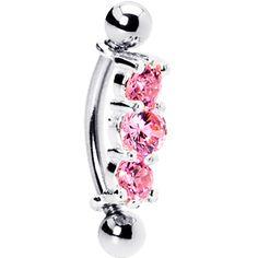 Silver 925 Rose Austrian Crystal Trilogy Eyebrow Ring  #BodyCandy