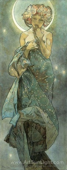 Alphonse Maria Mucha's oil painting The Moon. From The Moon and the Stars Series. 1902.  i have a pin on illustration inspiration thats the same thing!