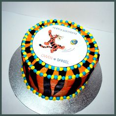 Nrl Cake -  tigers and parramatta eels themed birthday cake.