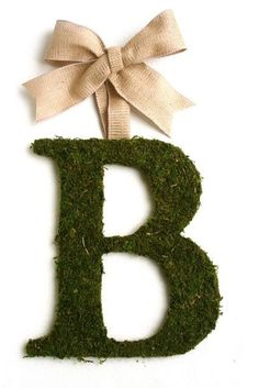 Moss Monogram Wreath. this would be easy to DIY with a glue gun, moss, and some burlap/ribbon.- Maybe hang these.. then use at Christmas