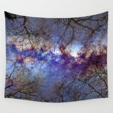 Fantasy stars. Milkyway through the trees. Wall Tapestry