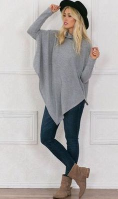 -Try Stitch fix the best clothing subscription box ever! 2017 Fashion inspiration photos for stitch fix. Only $20! Sign up now! Just click the pic. #Stitchfix #Sponsored  Lightweight grey long sleeved poncho, leggings and booties. Super cute Winter hat.