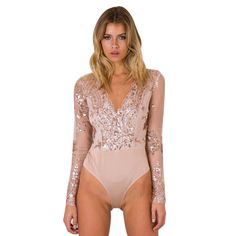 f53ba94ae5 Women Sexy Sequins Bodysuits Long SleeveV-Neck Slim Fit Jumpsuit Rompers  2Colors Fashion Femme Bodycon