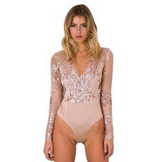 e804800a33 Women Sexy Sequins Bodysuits Long SleeveV-Neck Slim Fit Jumpsuit Rompers  2Colors Fashion Femme Bodycon