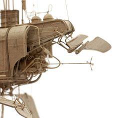 Artist's cardboard steampunk sculptures hint at complex imaginary world