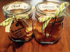 Geschenksidee: Apfelchips und Kartoffelchips Mason Jars, Potato Chips, The Fruit, Apple, Gifts, Mason Jar, Jars