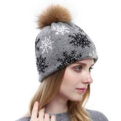Snowflake knitted bobble hat with Fur pom pom for women winter rhinestones  stocking caps fcc3783c9c17