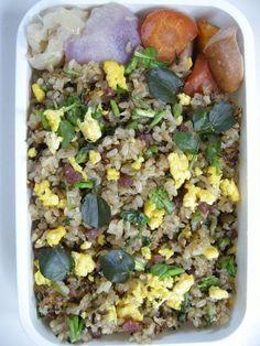 brown rice fried rice ( salami & watercress )  20121218 Lunch